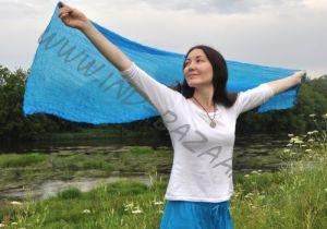 Голубые лёгкие шарфы из натурального шёлка (Москва)
