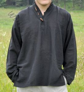 Чёрная мужская рубашка из органического хлопка