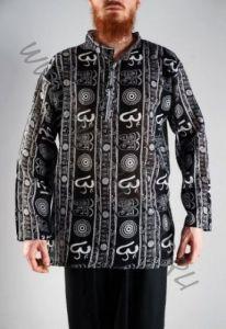Чёрная мужская рубашка, символ Ом (Москва)