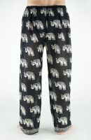 Индийские летние мужские штаны из хлопка, черные с белыми слонами. Купить с доставкой из Индии