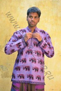 Фиолетовая мужская индийская рубашка со слонами