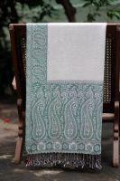 Двухсторонний индийский шарф палантин цвета морской волны, Москва