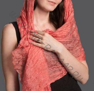 Лососевый шарф из шёлка (Москва)