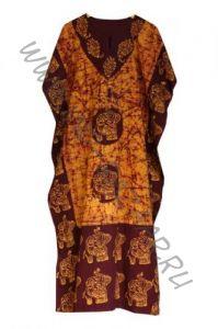 Длинное индийское платье на кулиске, хлопок