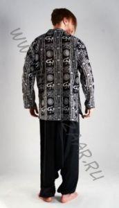 Чёрная мужская рубашка с рисунком символ Ом (Москва)
