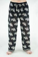 Индийские летние мужские штаны из хлопка, черные с белыми слонами. Интернет магазин.