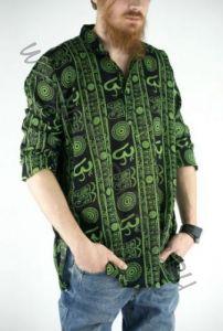 Чёрная мужская рубашка с рисунком символ Ом (СПб)